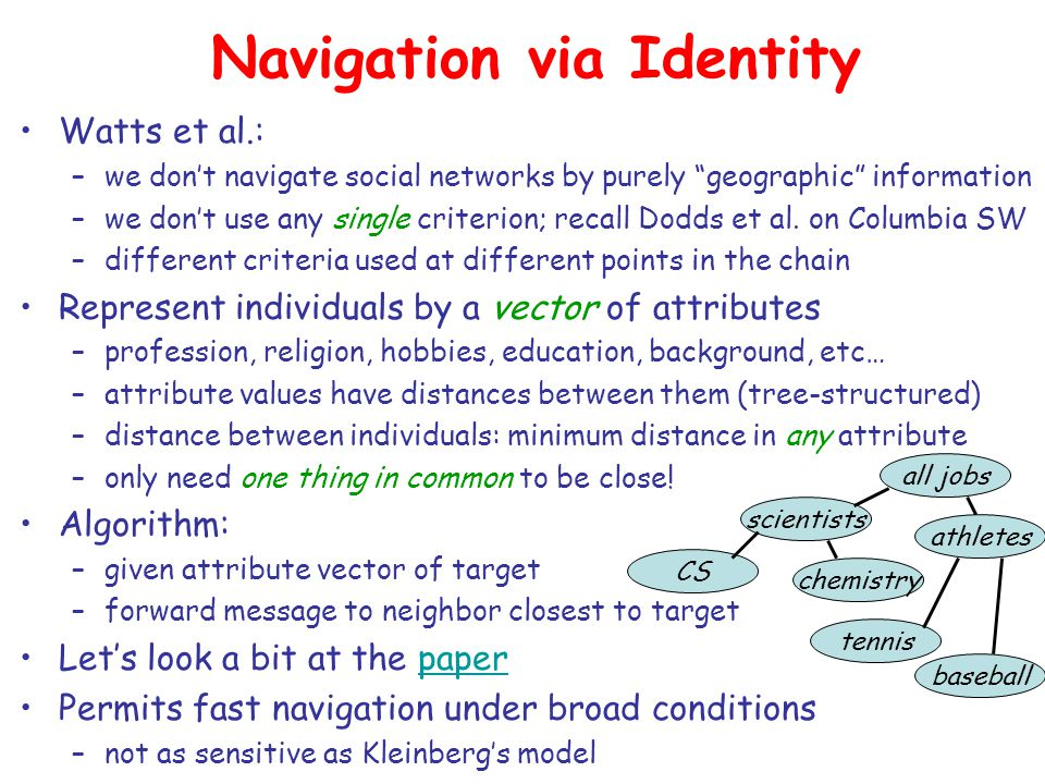 Navigation via Identity Watts et al.: –we don't navigate social networks by purely geographic information –we don't use any single criterion; recall Dodds et al.