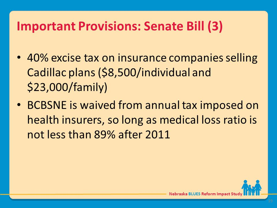 Nebraska BLUES Reform Impact Study Important Provisions: Senate Bill (3) 40% excise tax on insurance companies selling Cadillac plans ($8,500/individual and $23,000/family) BCBSNE is waived from annual tax imposed on health insurers, so long as medical loss ratio is not less than 89% after 2011 19