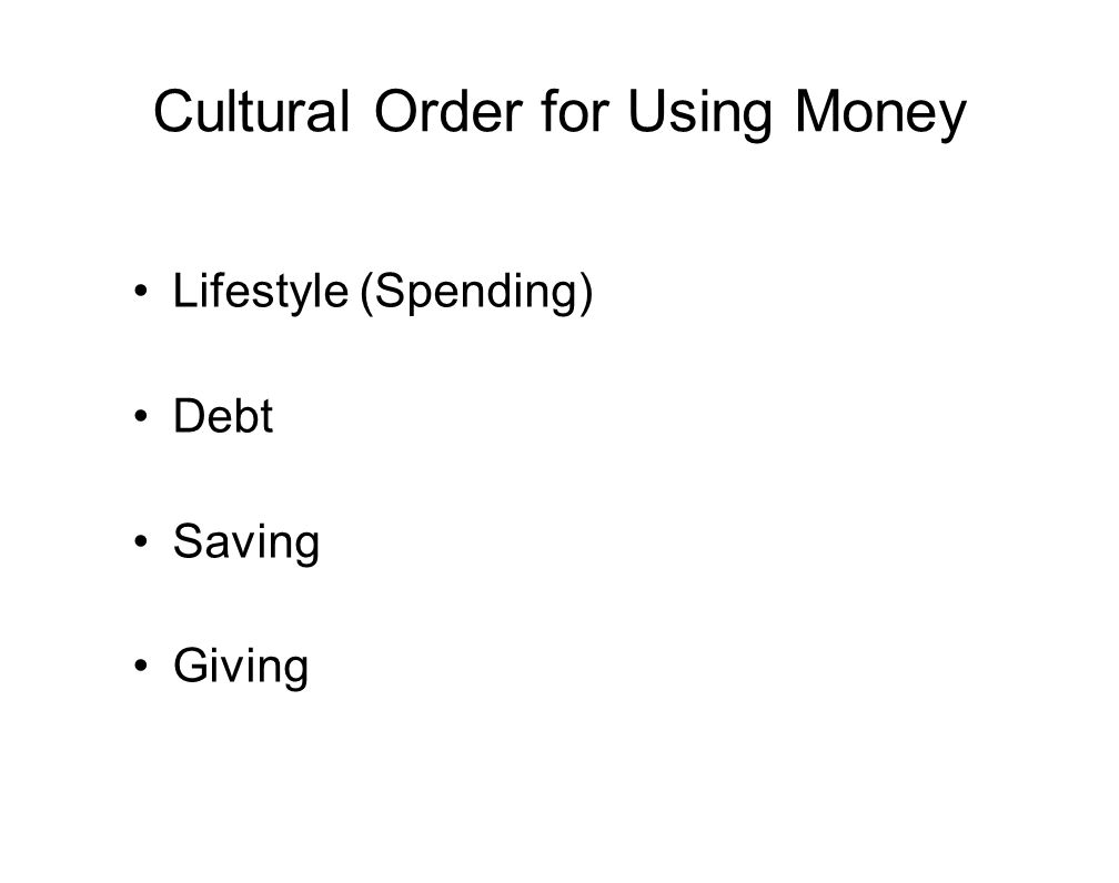 Cultural Order for Using Money Lifestyle (Spending) Debt Saving Giving