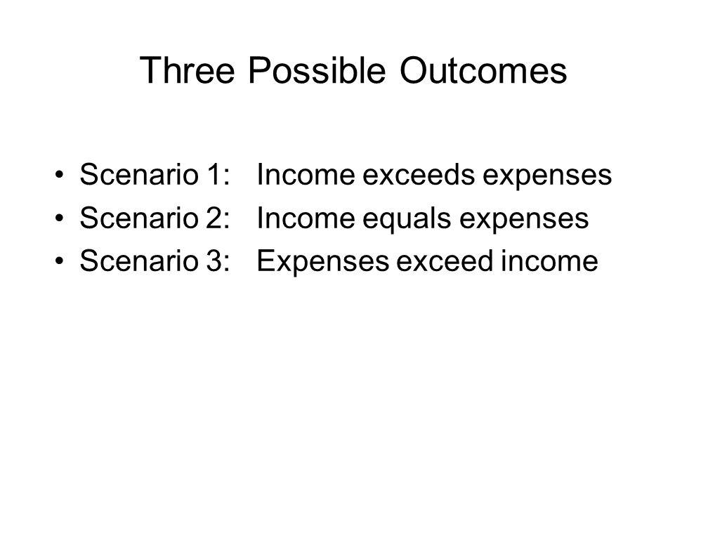 Three Possible Outcomes Scenario 1:Income exceeds expenses Scenario 2:Income equals expenses Scenario 3:Expenses exceed income