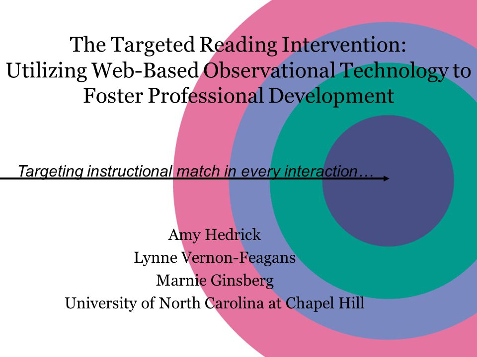 The Targeted Reading Intervention: Utilizing Web-Based Observational Technology to Foster Professional Development Amy Hedrick Lynne Vernon-Feagans Marnie Ginsberg University of North Carolina at Chapel Hill Targeting instructional match in every interaction…