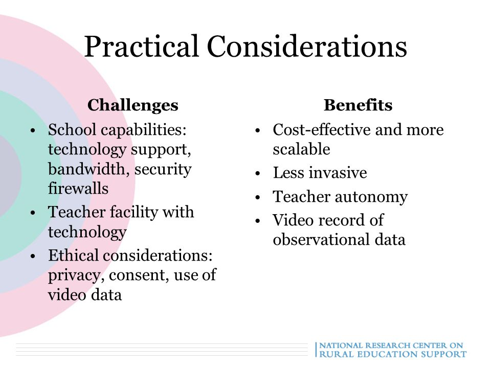 Practical Considerations Challenges School capabilities: technology support, bandwidth, security firewalls Teacher facility with technology Ethical considerations: privacy, consent, use of video data Benefits Cost-effective and more scalable Less invasive Teacher autonomy Video record of observational data