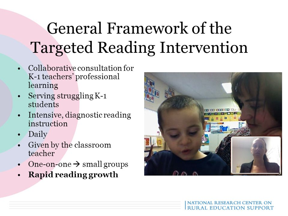 General Framework of the Targeted Reading Intervention Collaborative consultation for K-1 teachers' professional learning Serving struggling K-1 students Intensive, diagnostic reading instruction Daily Given by the classroom teacher One-on-one  small groups Rapid reading growth