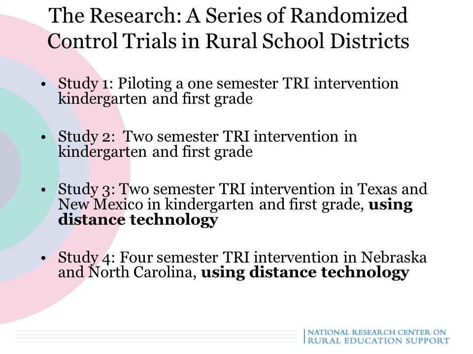 The Research: A Series of Randomized Control Trials in Rural School Districts Study 1: Piloting a one semester TRI intervention kindergarten and first grade Study 2: Two semester TRI intervention in kindergarten and first grade Study 3: Two semester TRI intervention in Texas and New Mexico in kindergarten and first grade, using distance technology Study 4: Four semester TRI intervention in Nebraska and North Carolina, using distance technology