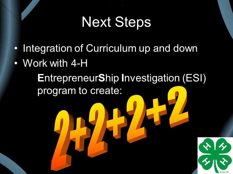 Next Steps Integration of Curriculum up and down Work with 4-H EntrepreneurShip Investigation (ESI) program to create: