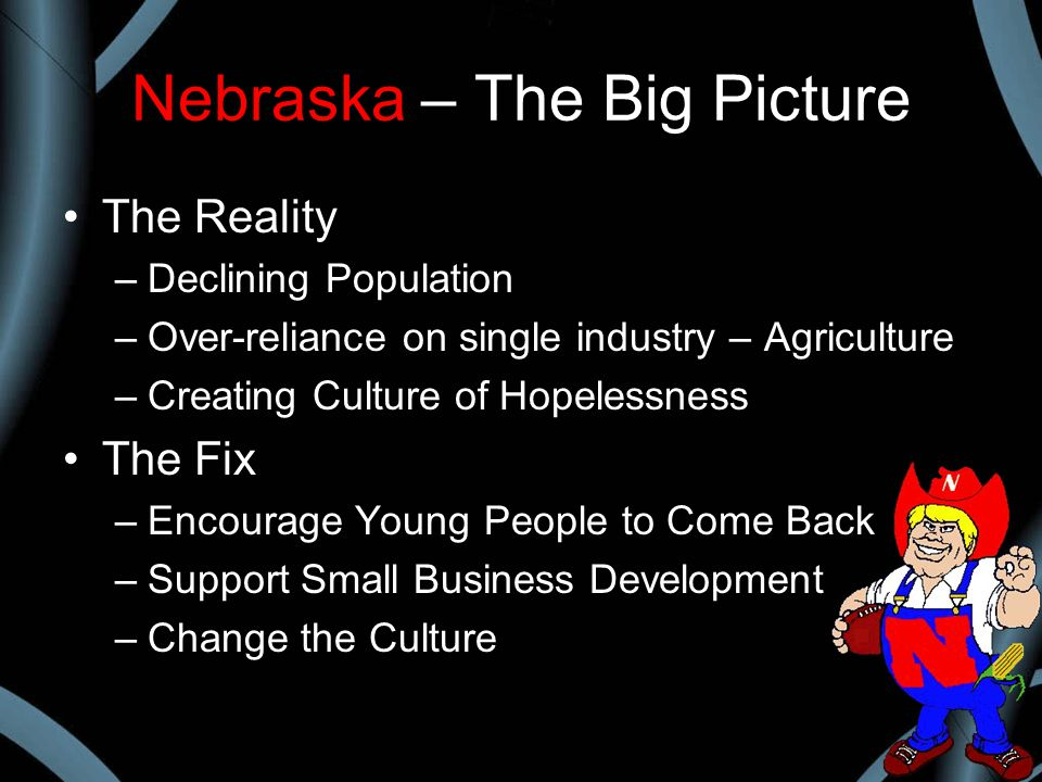 Nebraska – The Big Picture The Reality –Declining Population –Over-reliance on single industry – Agriculture –Creating Culture of Hopelessness The Fix –Encourage Young People to Come Back –Support Small Business Development –Change the Culture