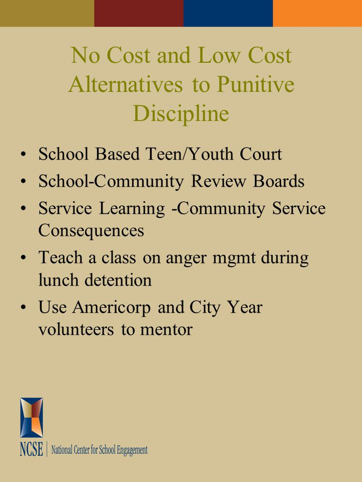 No Cost and Low Cost Alternatives to Punitive Discipline School Based Teen/Youth Court School-Community Review Boards Service Learning -Community Service Consequences Teach a class on anger mgmt during lunch detention Use Americorp and City Year volunteers to mentor
