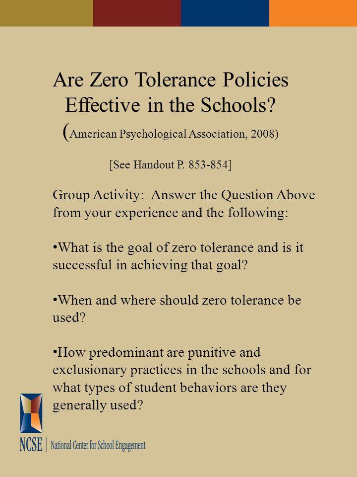 Are Zero Tolerance Policies Effective in the Schools.