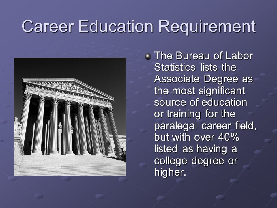 Career Education Requirement The Bureau of Labor Statistics lists the Associate Degree as the most significant source of education or training for the