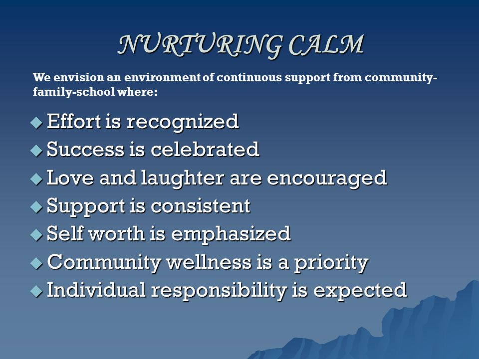 NURTURING CALM  Effort is recognized  Success is celebrated  Love and laughter are encouraged  Support is consistent  Self worth is emphasized  Community wellness is a priority  Individual responsibility is expected We envision an environment of continuous support from community- family-school where: