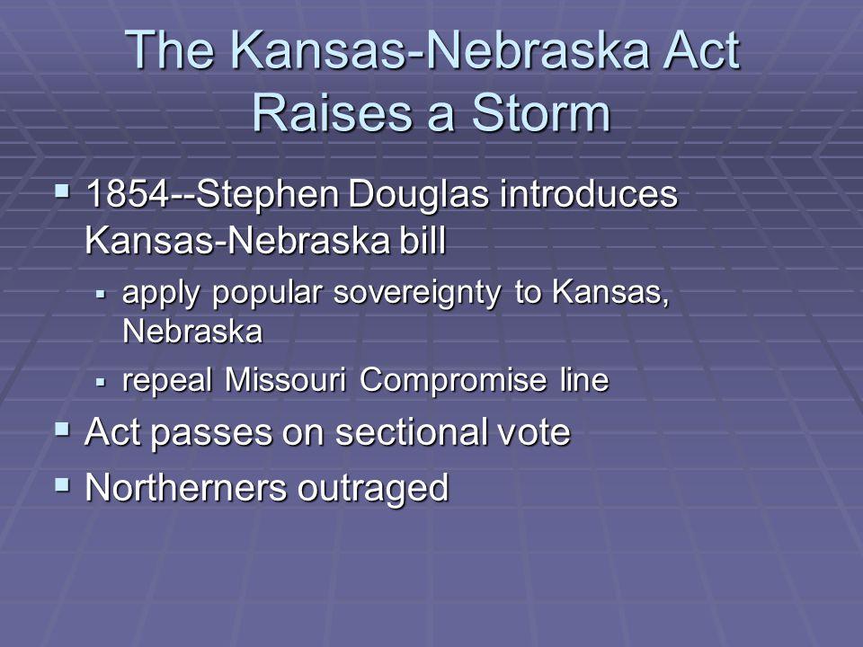 The Kansas-Nebraska Act Raises a Storm  1854--Stephen Douglas introduces Kansas-Nebraska bill  apply popular sovereignty to Kansas, Nebraska  repeal Missouri Compromise line  Act passes on sectional vote  Northerners outraged