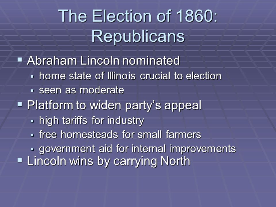 The Election of 1860: Republicans  Abraham Lincoln nominated  home state of Illinois crucial to election  seen as moderate  Platform to widen party's appeal  high tariffs for industry  free homesteads for small farmers  government aid for internal improvements  Lincoln wins by carrying North
