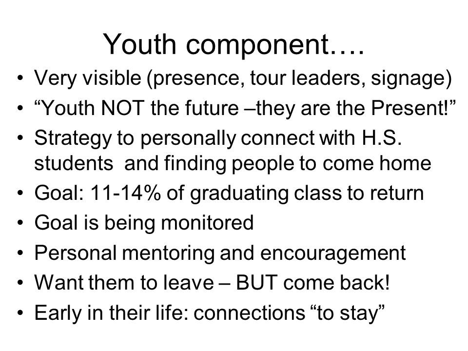 Youth component….