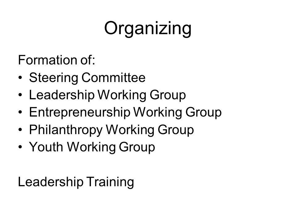 Formation of: Steering Committee Leadership Working Group Entrepreneurship Working Group Philanthropy Working Group Youth Working Group Leadership Training