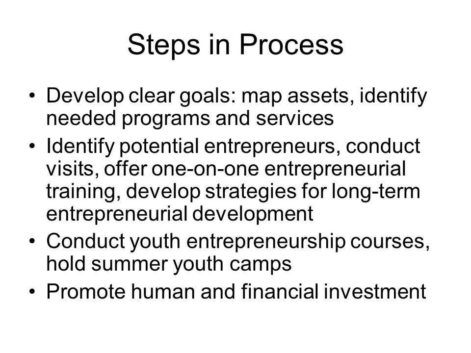 Steps in Process Develop clear goals: map assets, identify needed programs and services Identify potential entrepreneurs, conduct visits, offer one-on-one entrepreneurial training, develop strategies for long-term entrepreneurial development Conduct youth entrepreneurship courses, hold summer youth camps Promote human and financial investment