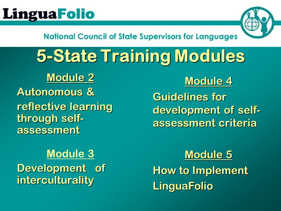 5-State Training Modules Module 2 Autonomous & reflective learning through self- assessment Module 3 Development of interculturality Module 4 Guidelines for development of self- assessment criteria Module 5 How to Implement LinguaFolio