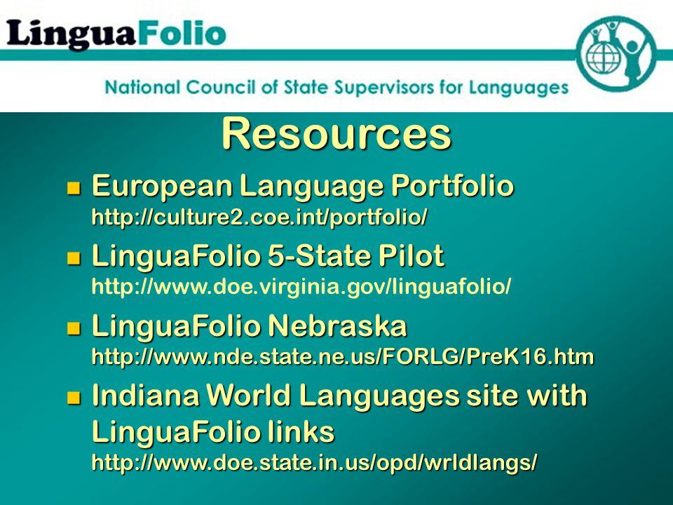 Resources European Language Portfolio http://culture2.coe.int/portfolio/ European Language Portfolio http://culture2.coe.int/portfolio/ LinguaFolio 5-State Pilot LinguaFolio 5-State Pilot http://www.doe.virginia.gov/linguafolio/ LinguaFolio Nebraska http://www.nde.state.ne.us/FORLG/PreK16.htm LinguaFolio Nebraska http://www.nde.state.ne.us/FORLG/PreK16.htm Indiana World Languages site with LinguaFolio links http://www.doe.state.in.us/opd/wrldlangs/ Indiana World Languages site with LinguaFolio links http://www.doe.state.in.us/opd/wrldlangs/