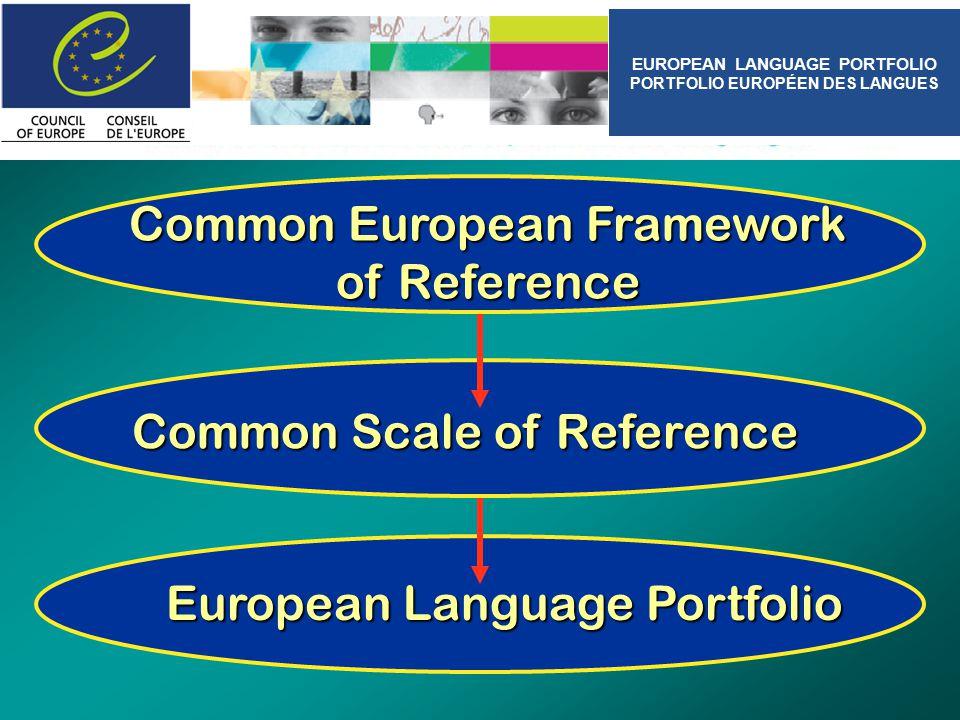 European Language Portfolio Common Scale of Reference Common European Framework of Reference EUROPEAN LANGUAGE PORTFOLIO PORTFOLIO EUROPÉEN DES LANGUES