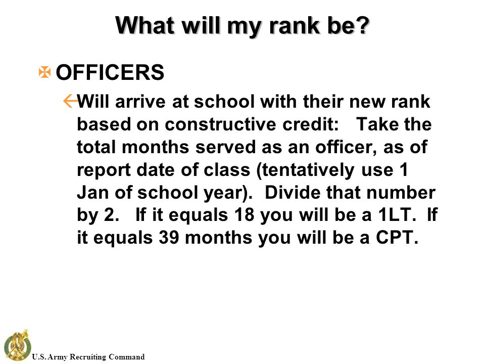 U.S. Army Recruiting Command What will my rank be.