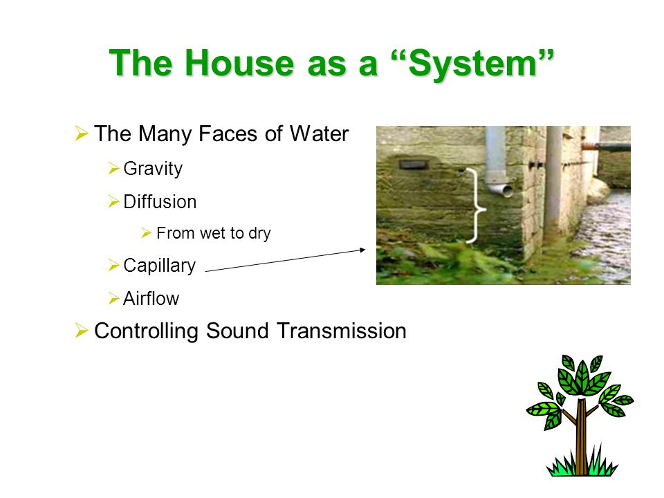 The House as a System Lot Design, Preparation and Development  Home Orientation  East & South Sides for Outdoor Use  Long Side Faces Within 20 Degrees True South  Allow for Cross Ventilation  Grade  Storm Water Control  Concrete Dump Area  Save any Topsoil  Protect Existing Trees or Transplant