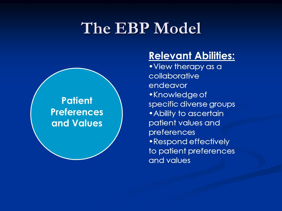 The EBP Model Relevant Abilities: View therapy as a collaborative endeavor Knowledge of specific diverse groups Ability to ascertain patient values and preferences Respond effectively to patient preferences and values Patient Preferences and Values