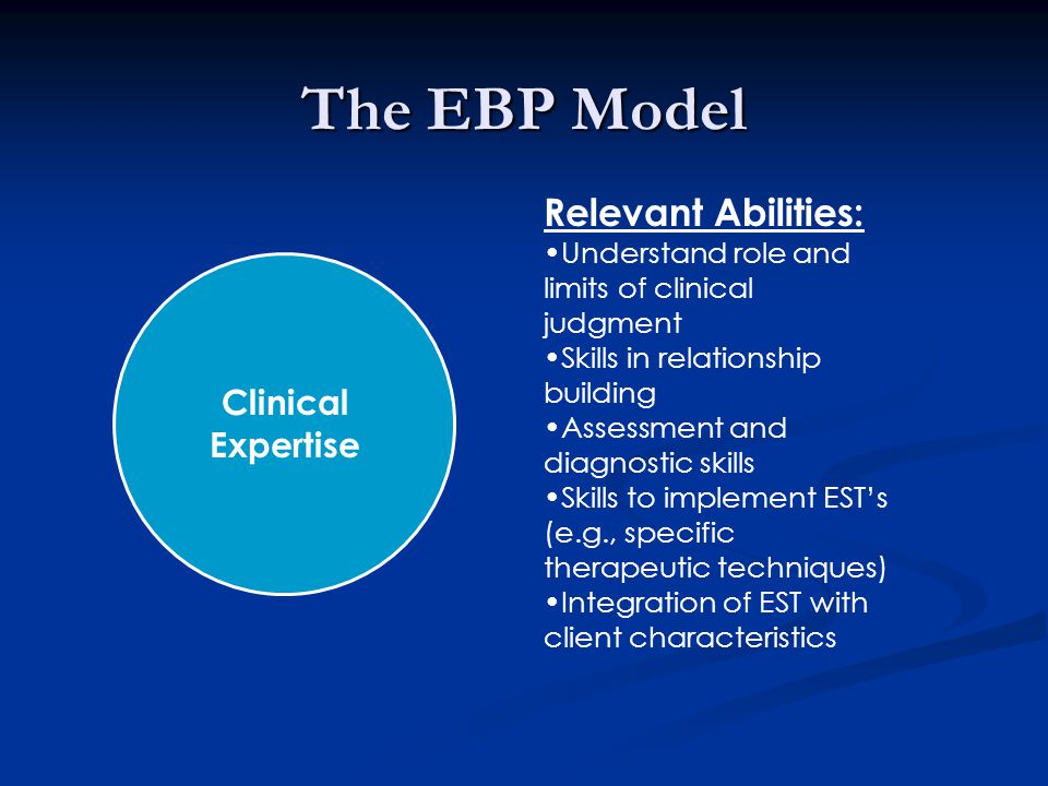 The EBP Model Clinical Expertise Relevant Abilities: Understand role and limits of clinical judgment Skills in relationship building Assessment and diagnostic skills Skills to implement EST's (e.g., specific therapeutic techniques) Integration of EST with client characteristics
