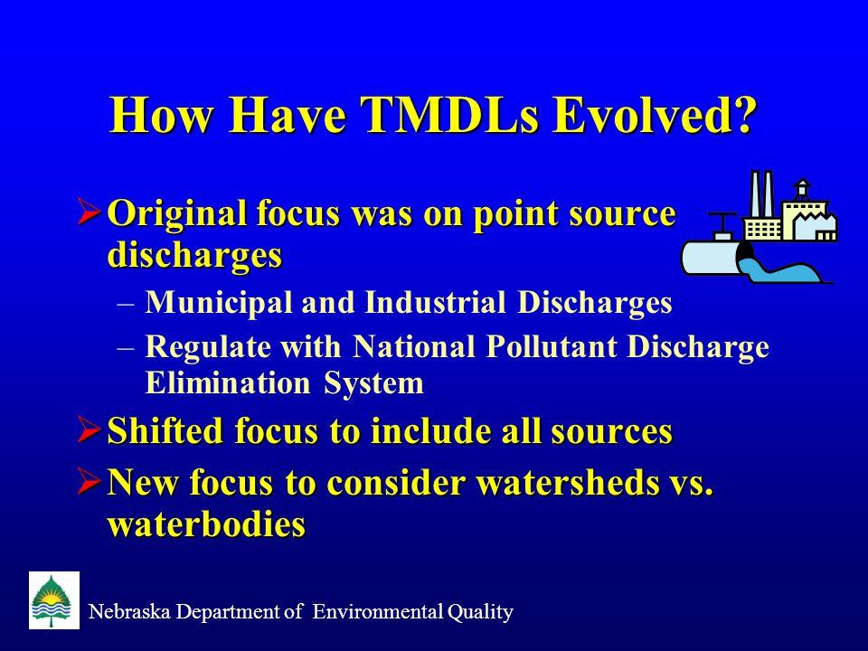 Nebraska Department of Environmental Quality Goal of TMDL Program Fishable Swimable