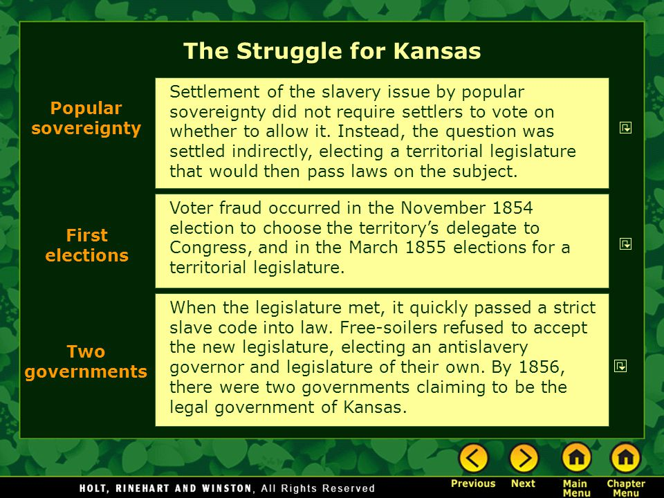 The Struggle for Kansas Voter fraud occurred in the November 1854 election to choose the territory's delegate to Congress, and in the March 1855 elect