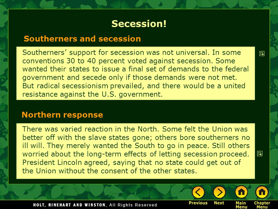 Secession! There was varied reaction in the North. Some felt the Union was better off with the slave states gone; others bore southerners no ill will.