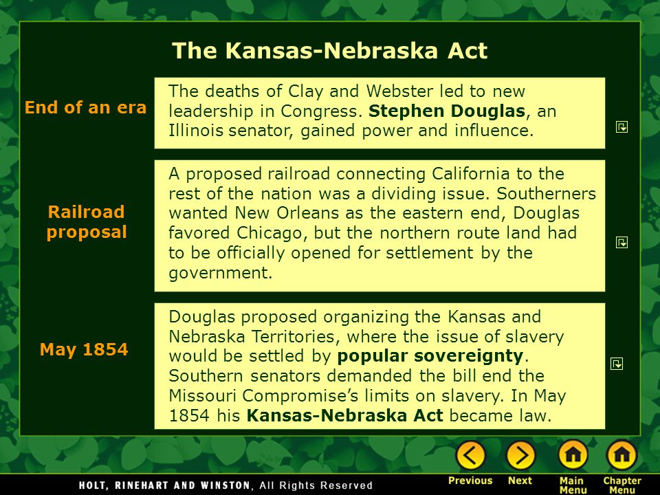 The Kansas-Nebraska Act A proposed railroad connecting California to the rest of the nation was a dividing issue. Southerners wanted New Orleans as th