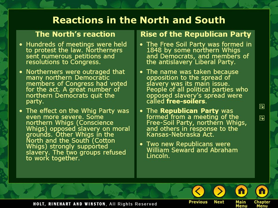 Reactions in the North and South The North's reaction Hundreds of meetings were held to protest the law. Northerners sent numerous petitions and resol
