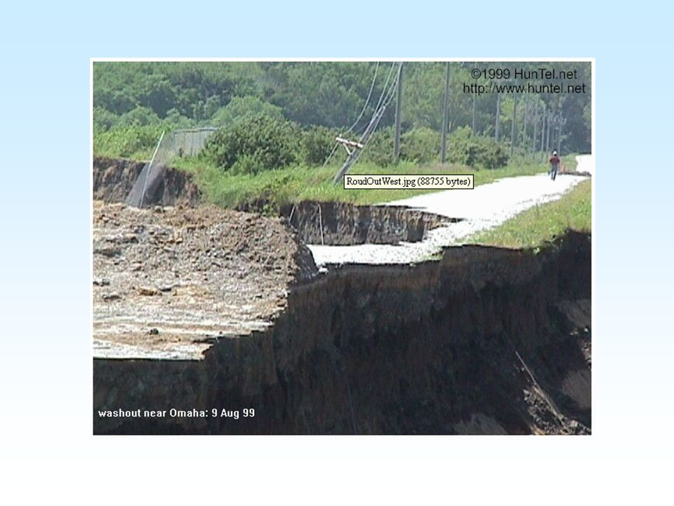 The Omaha, Nebraska Flash Flood of 7 August 1999 Meteorological boundaries act as atmospheric terrain to focus thunderstorms Human engineered drainages can have rapid and severe responses (streams go back to where nature put them)