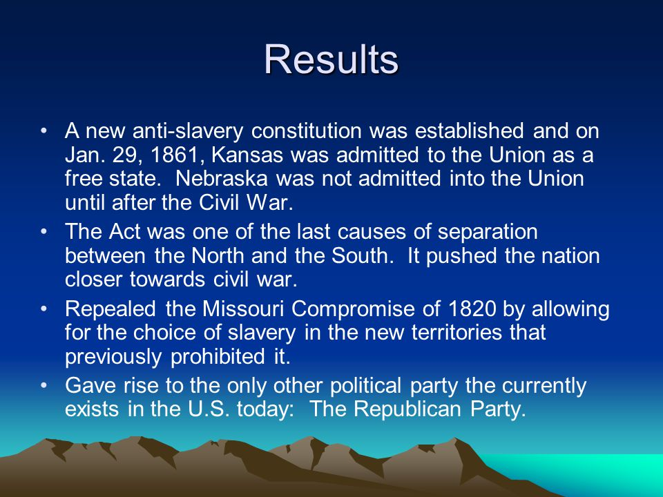 Results A new anti-slavery constitution was established and on Jan.