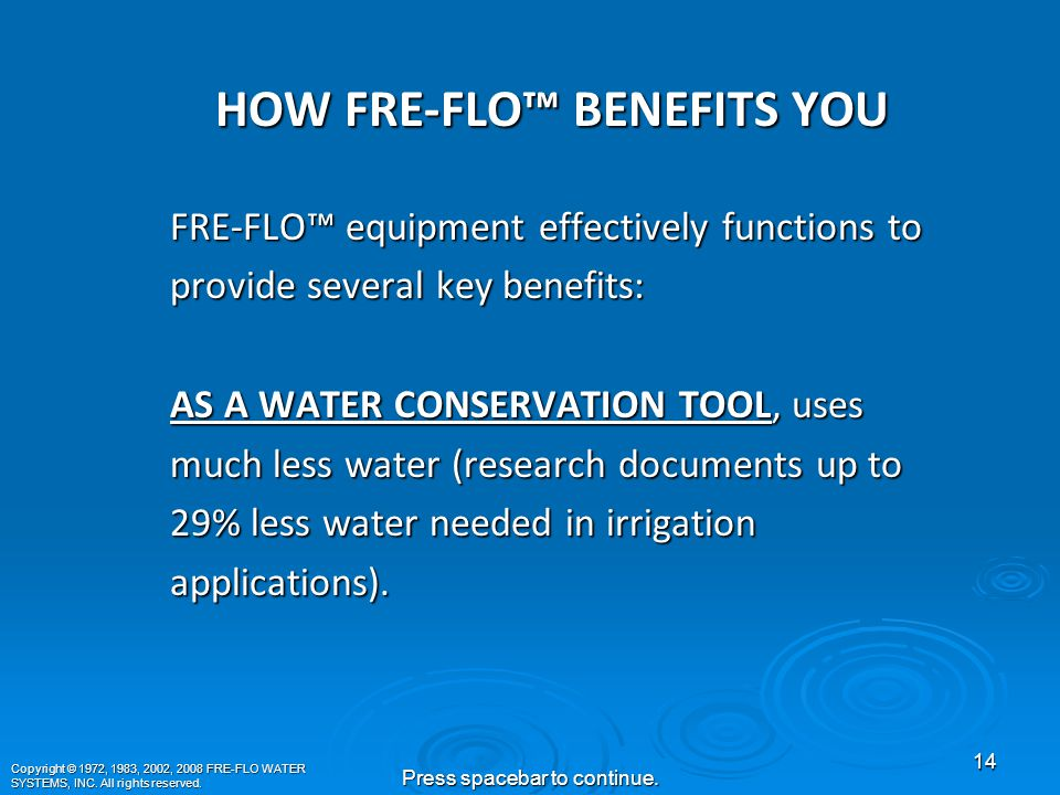 Copyright © 1972, 1983, 2002, 2008 FRE-FLO WATER SYSTEMS, INC.