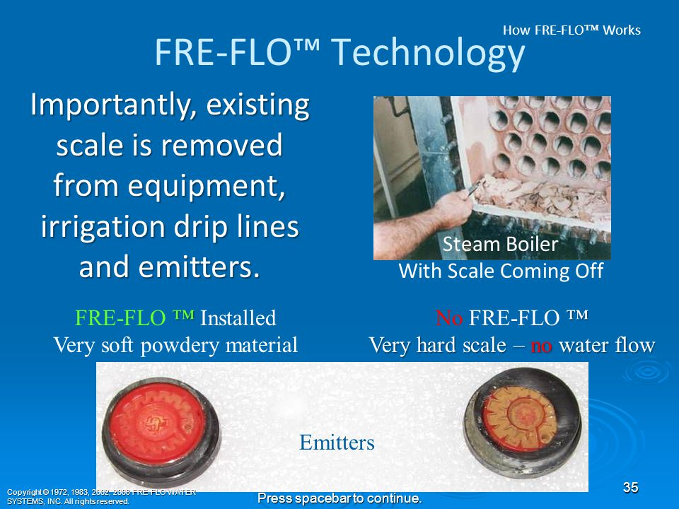 FRE-FLO™ Technology As a bonus in turf and agriculture, existing hard calcium carbonate blockage in the soil is eliminated.