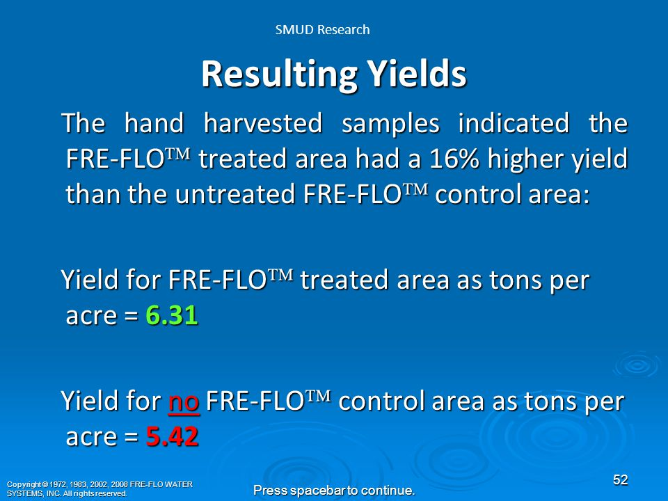 Not only is there documented evidence that FRE-FLO ™ is beneficial for growing crops, but there is visual evidence as well.