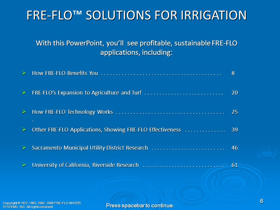 Welcome to FRE-FLO™ WATER SYSTEMS's INC.