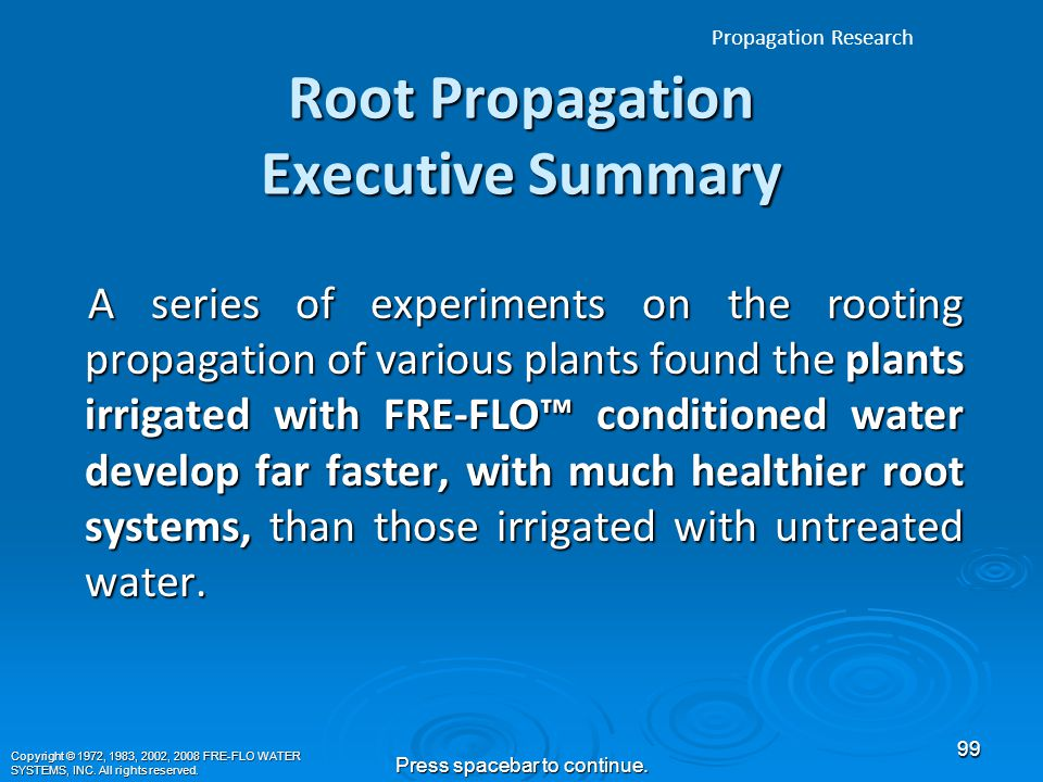 Report on the Effects of the FRE-FLO™ Soil Amendment Tool/Water Conditioner in Root Propagation Tests Results of FRE-FLO™ Project at: MT.