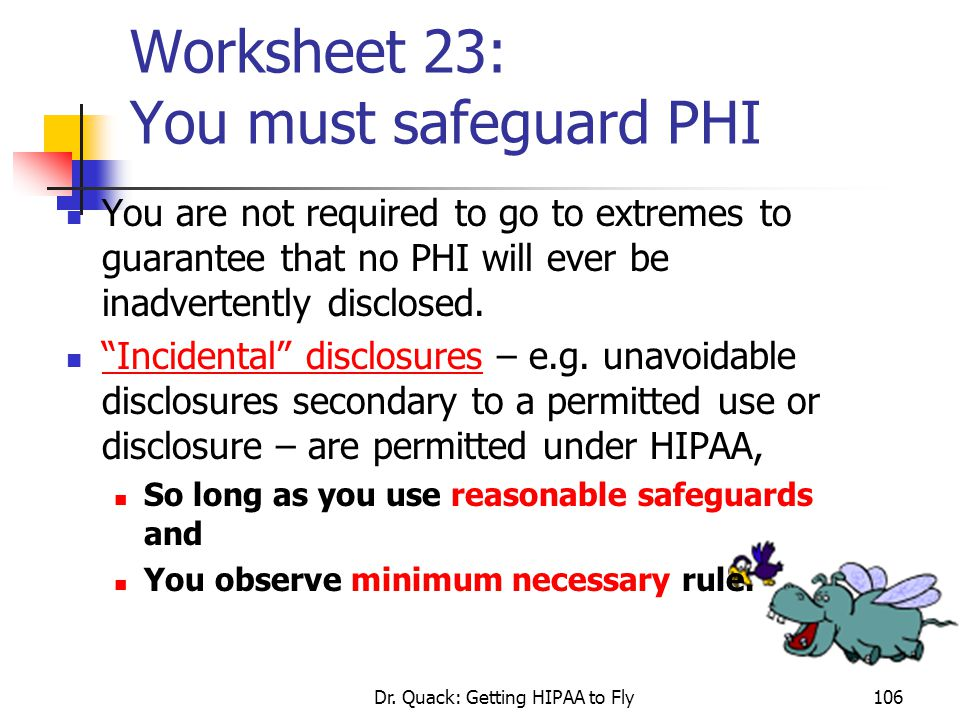 Dr. Quack: Getting HIPAA to Fly106 Worksheet 23: You must safeguard PHI You are not required to go to extremes to guarantee that no PHI will ever be i