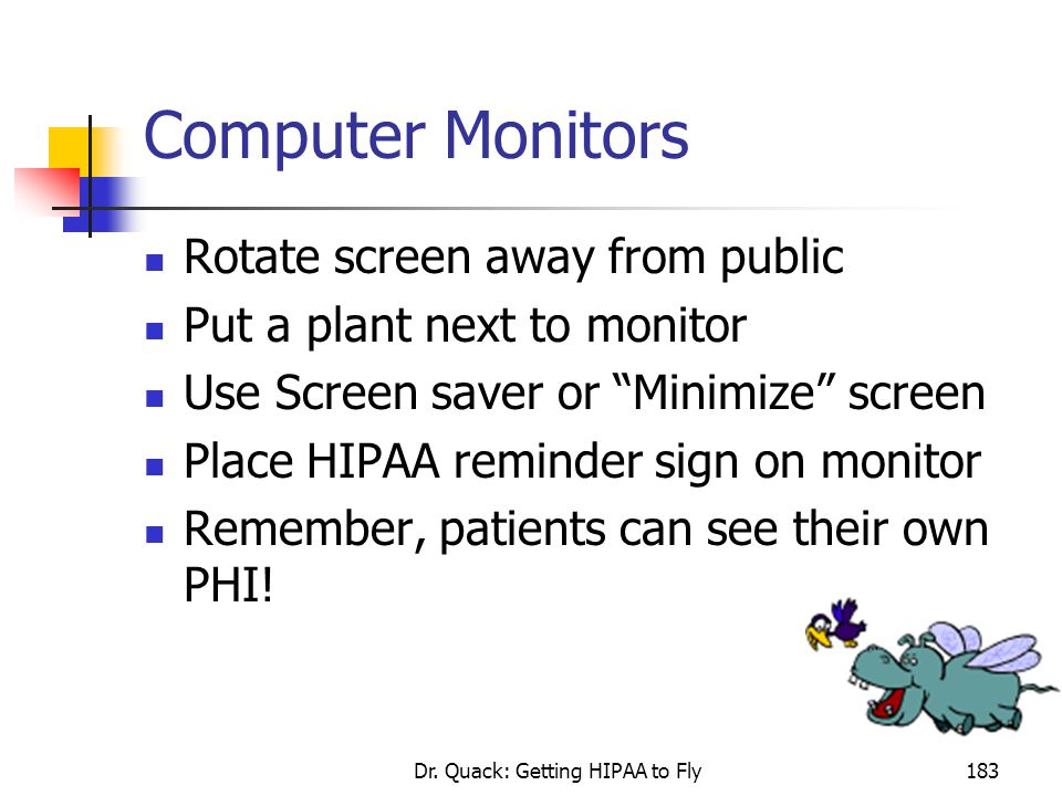 """Dr. Quack: Getting HIPAA to Fly183 Computer Monitors Rotate screen away from public Put a plant next to monitor Use Screen saver or """"Minimize"""" screen"""