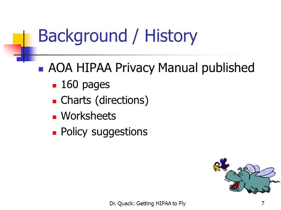 Dr. Quack: Getting HIPAA to Fly7 Background / History AOA HIPAA Privacy Manual published 160 pages Charts (directions) Worksheets Policy suggestions