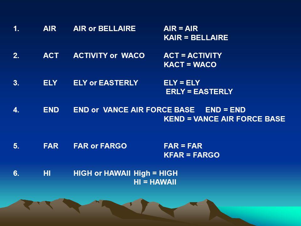 1. AIR AIR or BELLAIRE AIR = AIR KAIR = BELLAIRE 2.