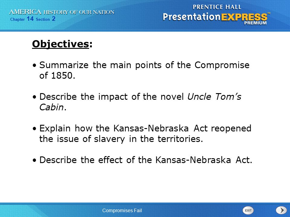 Chapter 14 Section 2 Compromises Fail Summarize the main points of the Compromise of 1850. Describe the impact of the novel Uncle Tom's Cabin. Explain