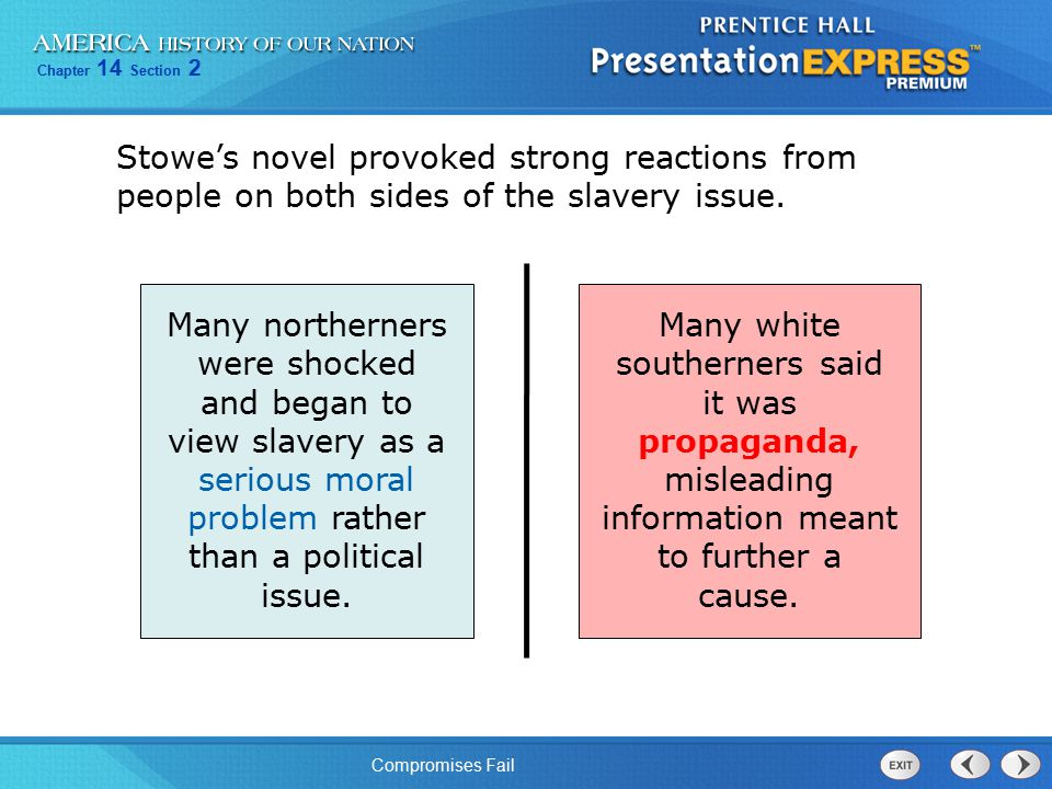 Chapter 14 Section 2 Compromises Fail Stowe's novel provoked strong reactions from people on both sides of the slavery issue. Many northerners were sh