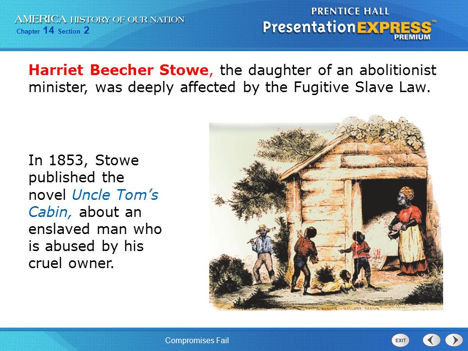Chapter 14 Section 2 Compromises Fail Harriet Beecher Stowe, the daughter of an abolitionist minister, was deeply affected by the Fugitive Slave Law.