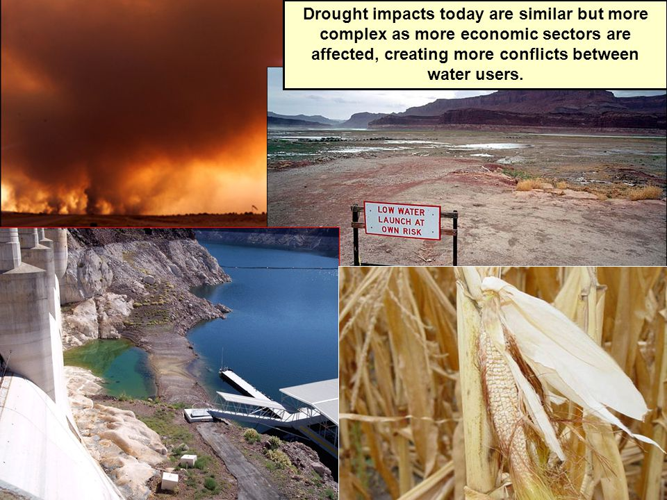 Drought impacts today are similar but more complex as more economic sectors are affected, creating more conflicts between water users.