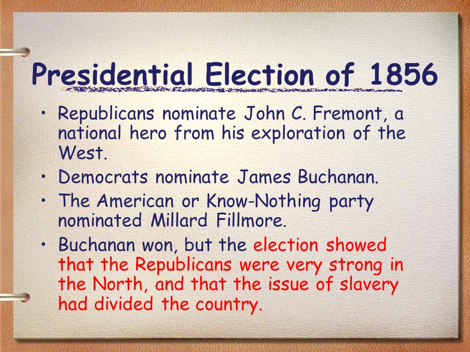 Presidential Election of 1856 Republicans nominate John C.