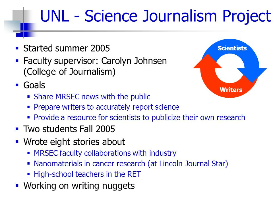 UNL - Science Journalism Project  Started summer 2005  Faculty supervisor: Carolyn Johnsen (College of Journalism) Scientists Writers  Goals  Shar