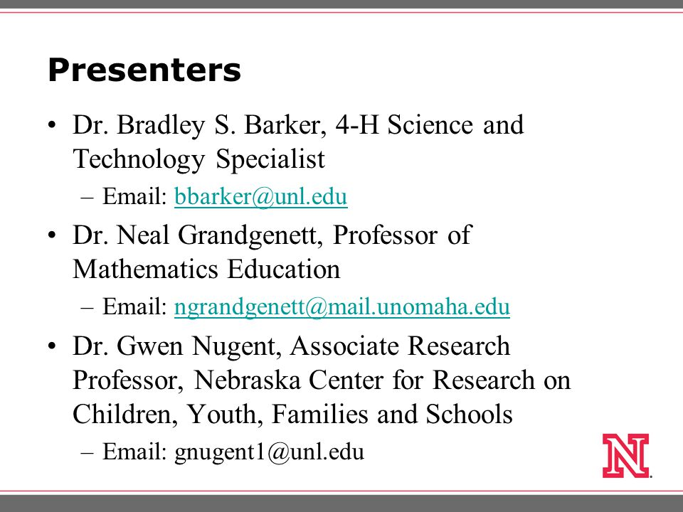 Presenters Dr. Bradley S.