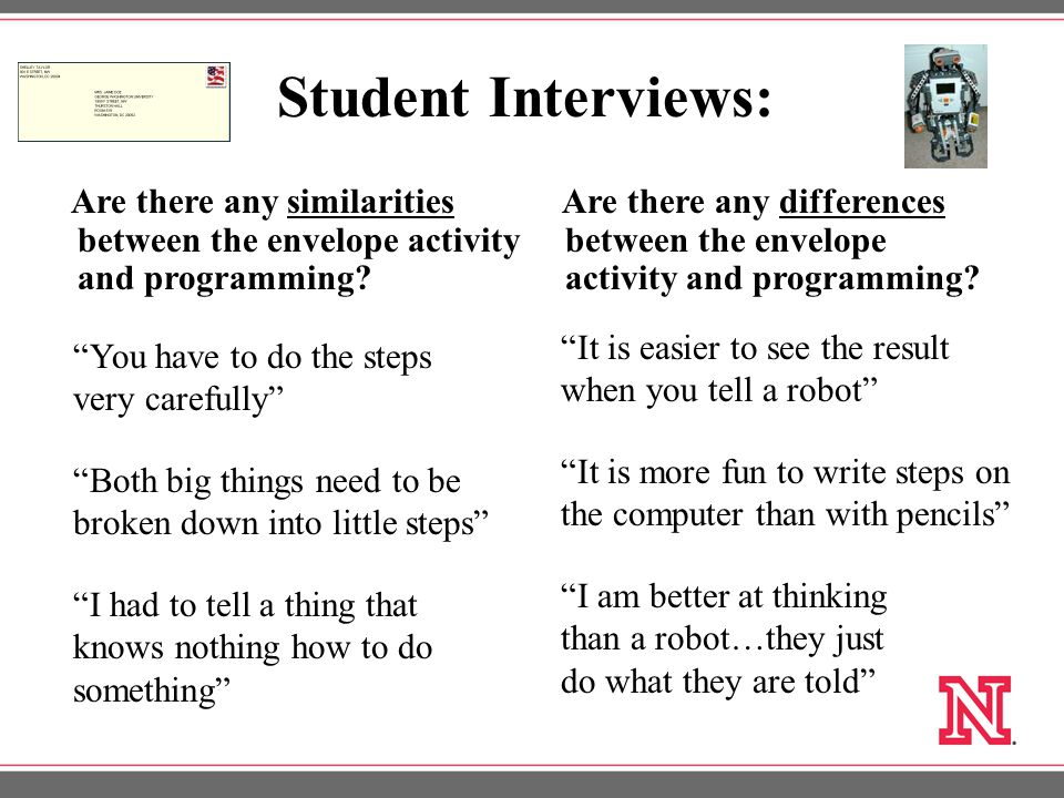 Student Interviews: Are there any similarities between the envelope activity and programming.